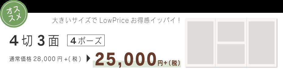 4切り3面4ポーズ25000円
