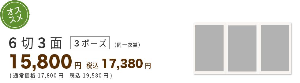 6切り3面4ポーズ15600円